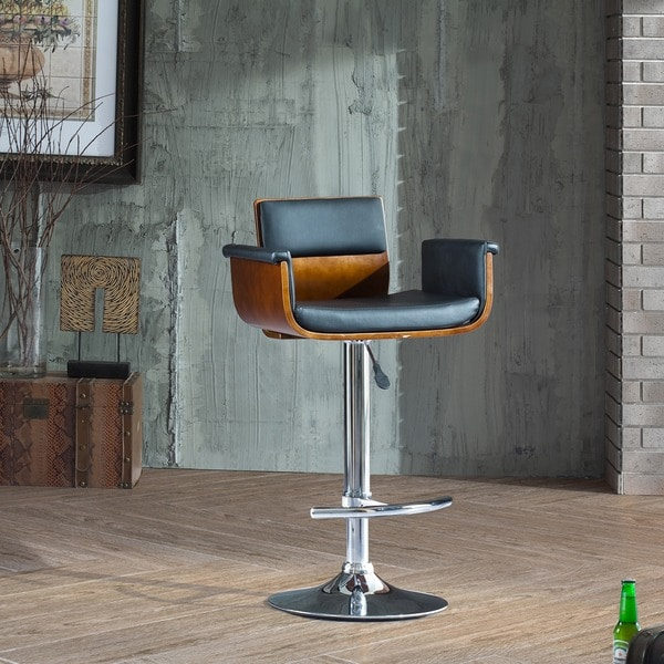 Corvus Tony Mid-century Black and Walnut Adjustable Swivel Bar Stool & Corvus Tony Mid-century Black and Walnut Adjustable Swivel Bar ... islam-shia.org