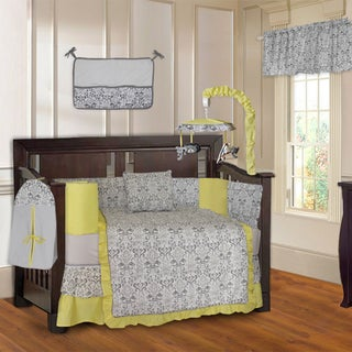 BabyFad Yellow Damask 10-piece Baby Crib Bedding Set with Musical Mobile