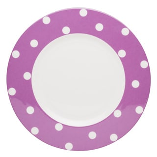 Red Vanilla Freshness Dots Violet 11.25-inch Dinner Plates (Set of 6)