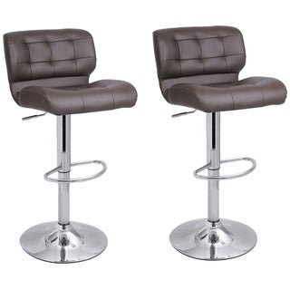 Adeco Adjustable Bar stool Chair with Chrome Finish Pedestal Base ( set of two)