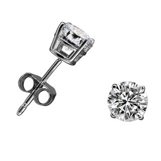 14k White or Yellow Gold 3/4ct TDW Diamond Round Stud Earrings - White H-I