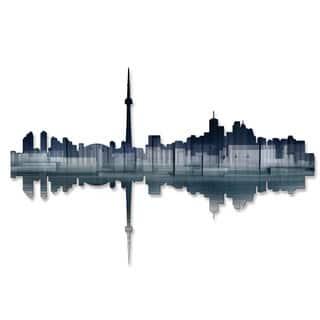 'Toronto Reflection' Ash Carl Metal Wall Art Sculpture - Blue