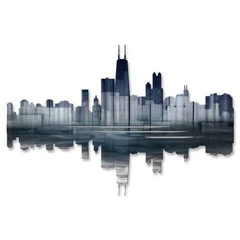 'Chicago Reflection II' Ash Carl Metal Wall Art