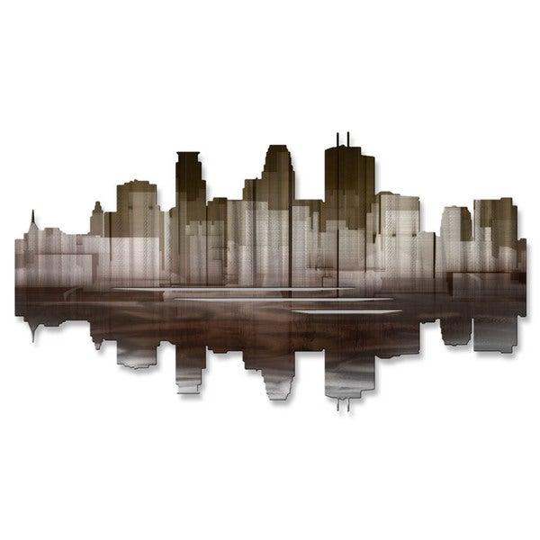 Metal Wall Art 'Minneapolis Reflection II' Ash Carl