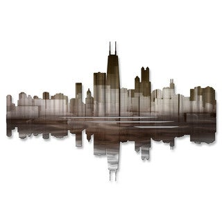 Metal Wall Art 'Chicago Reflection III' Ash Carl