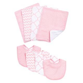 Trend Lab Pink Sky 8-piece Bib and Burp Cloth Set