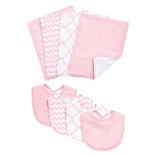 Trend Lab Pink Sky 8-piece Bib and Burp Cloth Set