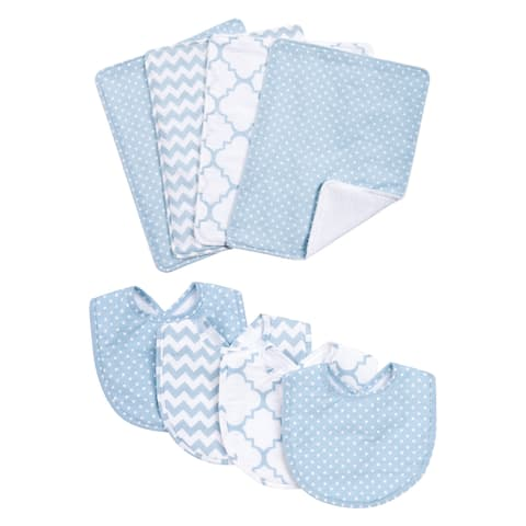 Trend Lab Blue Sky 8-piece Bib and Burp Cloth Set