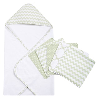 Trend Lab Sea Foam 6-piece Chevron Hooded Towel and Wash Cloth Set