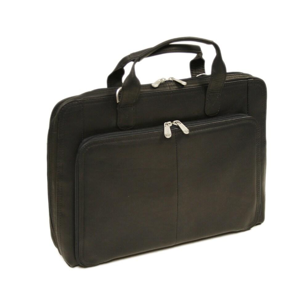 Laptop briefcase in Black Piel Leather Slim Modern Portfolio