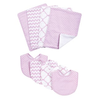 Trend Lab Orchid Bloom 8-piece Bib and Burp Cloth Set