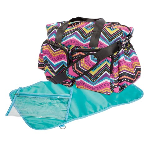 Trend Lab Modern Multi Chevron Deluxe Duffle Diaper Bag