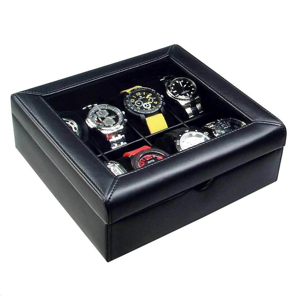 Ikee Design Deluxe Black Faux Leather Watch Display Case ...