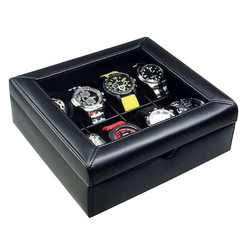 Ikee Design Deluxe Black Faux Leather Watch Display Case For 8 Watches