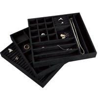 Stackable Velvet Jewelry Trays (Set of 3)