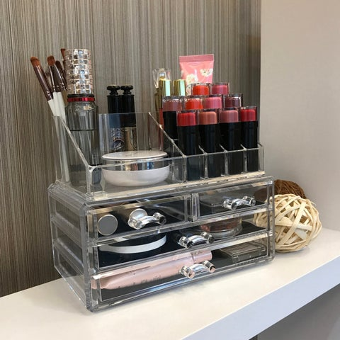 Ikee Design Clear Acrylic Jewelry and Cosmetic Storage Display Box Set