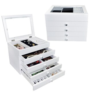 Ikee Design High Gloss View Top Wooden Jewelry Chest (Option: White)
