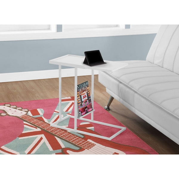 Accent Table-White Metal With a Magazine Rack