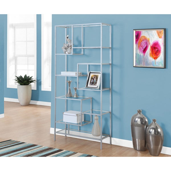 Bookcase 72 Inch Silver Metal With Tempered Glass