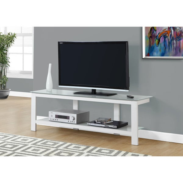 Shop Tv Stand 60 Incheswhite Metal With Frosted Tempered Glass