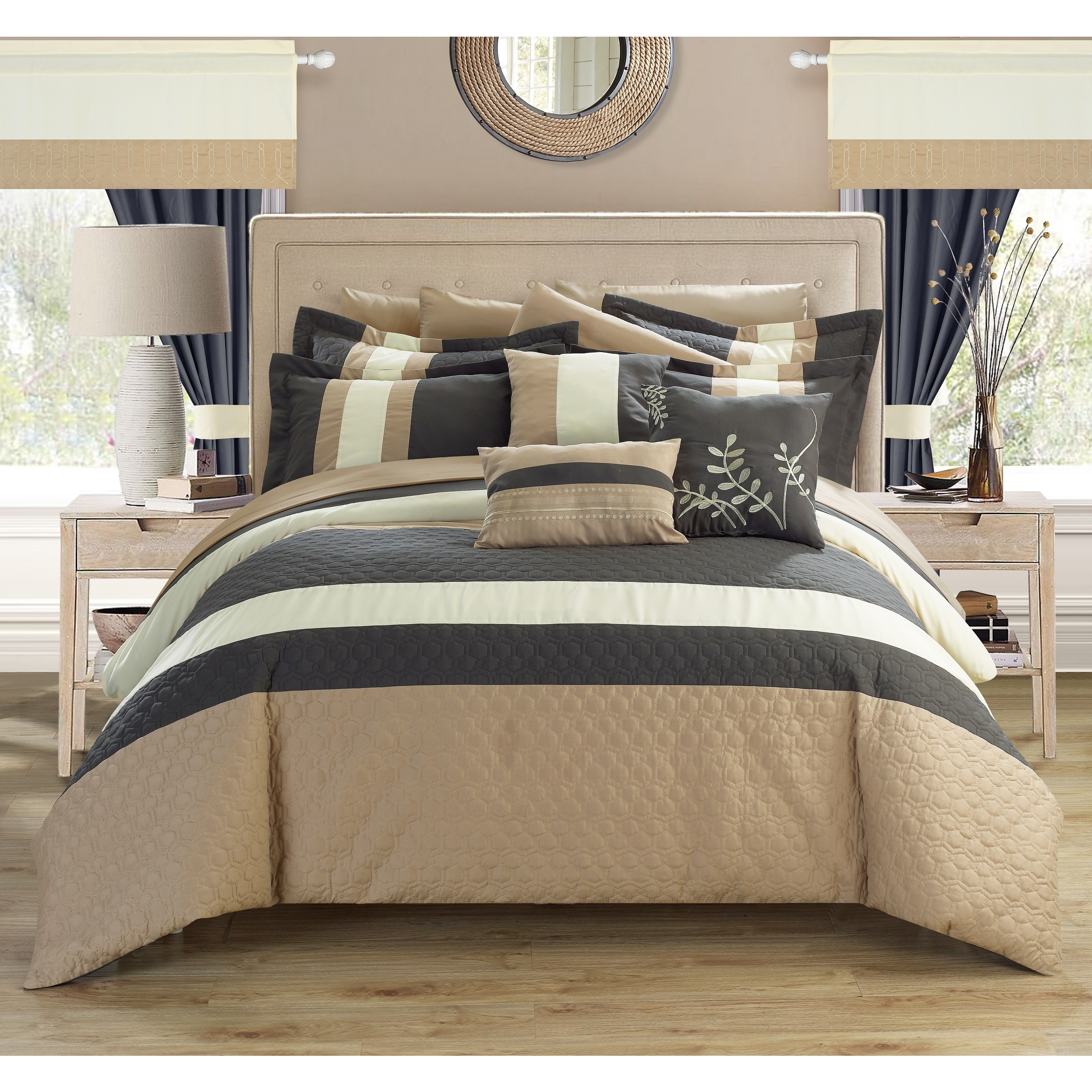 Chic Home Lorena Grey 24-piece Bed in a Bag with Sheet Se...