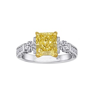Natural Fancy 2 5/8ct TDW Yellow Center Engagement Ring By Life More Dazzling