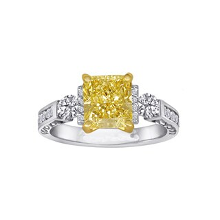 Natural Fancy 2 5/8ct TDW Yellow Cushion Diamond Engagement Ring by Life More Dazzling