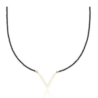 PearlAura Vanguard 14k Yellow Gold Black Chevron Necklace