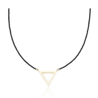 PearlAura Vanguard 14k Yellow Gold Black Spinal and Triangle Necklace