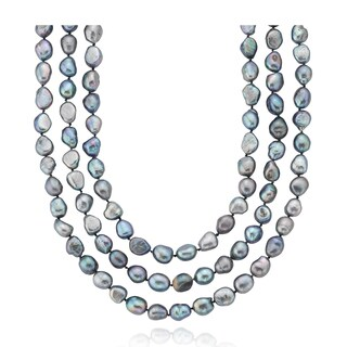 PearlAura Peacock Baroque Freshwater Endless 64-inch Necklace (10 - 11mm)