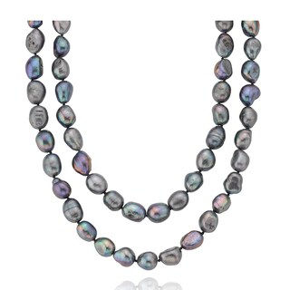 PearlAura Freshwater Peacock Baroque Endless 32-inch Pearl Necklace (10 - 11 mm)