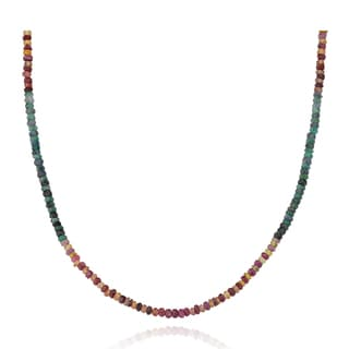 PearlAura Sterling Silver Multi-colored Sapphire Gemstone Necklace (3 - 4 mm)