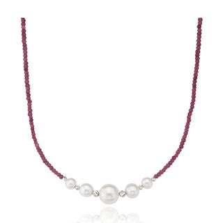PearlAura Sterling Silver Ruby and Freshwater Pearl Necklace