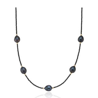 PearlAura 14k Faceted Black Spinel and Freshwater Pearl Necklace
