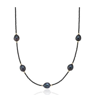 """PearlAura 14k Gold 2-3mm Faceted Roundel Black Spinel and 10-11mm Peacock Rice Cultured Freshwater Pearl Necklace 18"""""""