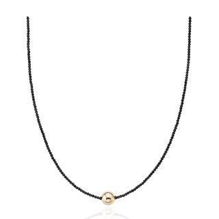 """PearlAura 14 Karat Gold 2-3mm Faceted Roundel Black Spinel and 10mm Gold Ball Necklace 18"""""""