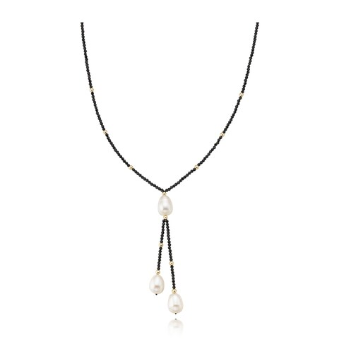 """PearlAura 14k Gold 10-11mm White Long Shape Cultured Freshwater Pearl and 2-3mm Facteted Black Spinel Necklace 18"""""""
