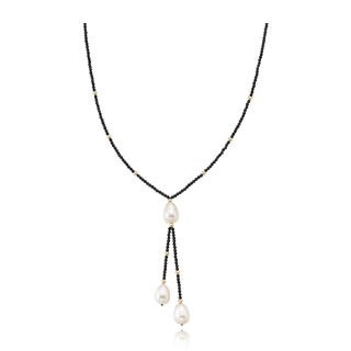 PearlAura Vanguard 14k Yellow Gold Bead and Black Necklace