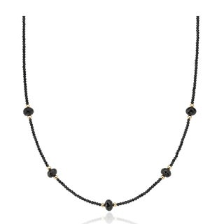 PearlAura 14 Karat Gold 2-3mm and 7-8mm Faceted Roundel Black Spinel Station Necklace 18""