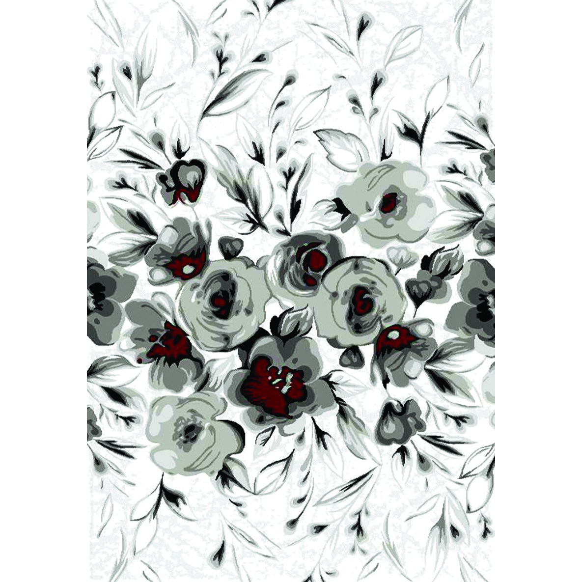 """Plait White and Red Rose Area Rug (5'3 x 7'7) (5'3"""" x 7'7..."""