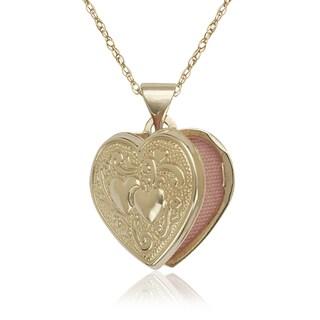 14k Yellow Gold Double Heart Locket