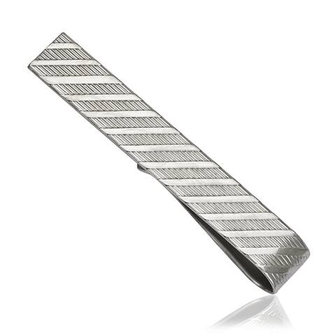 Sterling Silver Diagonal-cut Tie Bar