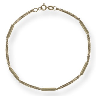 10k Yellow Gold 7.5-Inch Bar and Bead Layering Bracelet