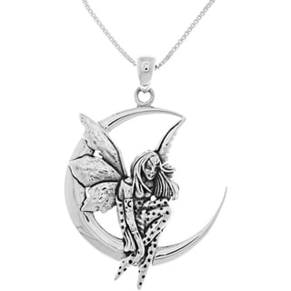 Sterling Silver Fairy Moon Dream Pendant Necklace