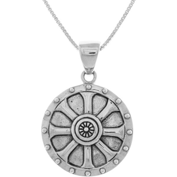 Sterling silver viking shield wheel of balance pendant necklace sterling silver viking shield wheel of balance pendant necklace mozeypictures Image collections
