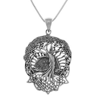 Carolina Glamour Collection Sterling Silver Celtic Tree of Life Pendant Necklace