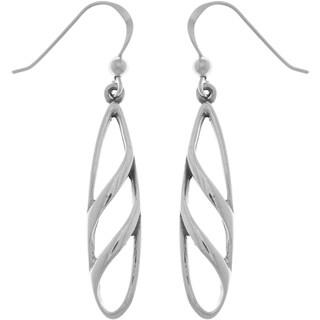 Sterling Silver Long Teardrop Open Design Dangle Earrings