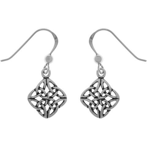 Sterling Silver Fourfold Celtic Trinity Knot Dangle Earrings