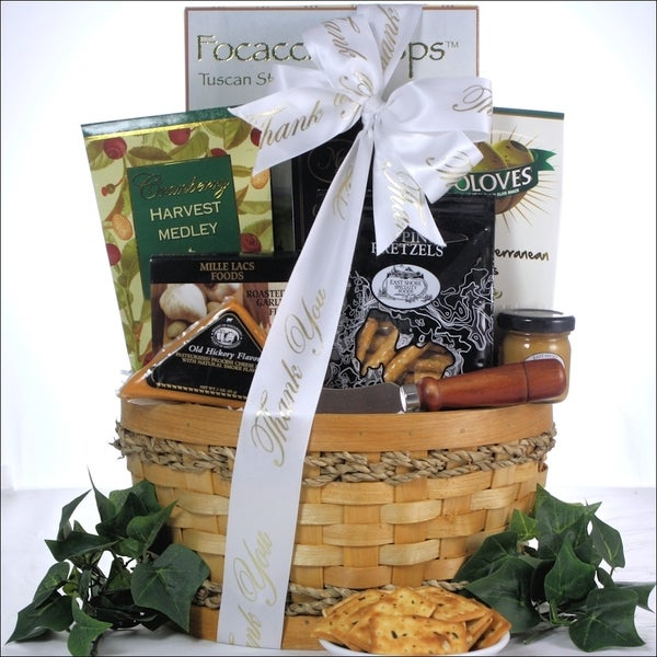 Savory Cheese and Snack Sampler Thank You Gift Basket
