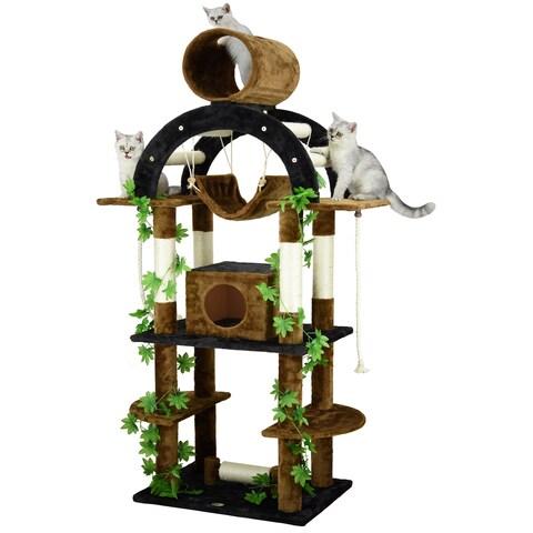 Go Pet Club Black Brown Wood Faux Fur Sisal 71-inch-high Cat Tree